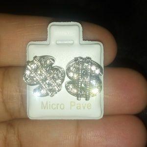 Mens money sign studded earrings